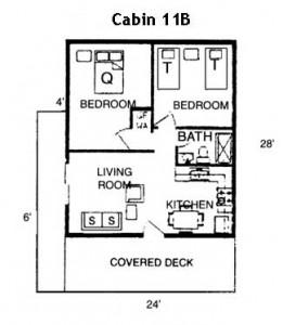 Hickory Hollow Resort Table Rock Lake Cabin 11B Floor Plan